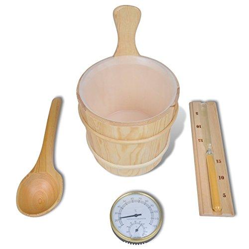 vidaXL Kübel Sanduhr Thermometer Saunakübel Löffel Saunazubehör